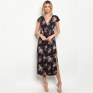 Black Floral Maxi Dress w/ Side Slit Short Sleeves